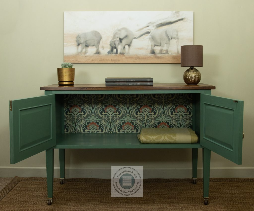 Green painted washstand with William Morris inspired paper lining inside to demo sustainable furniture