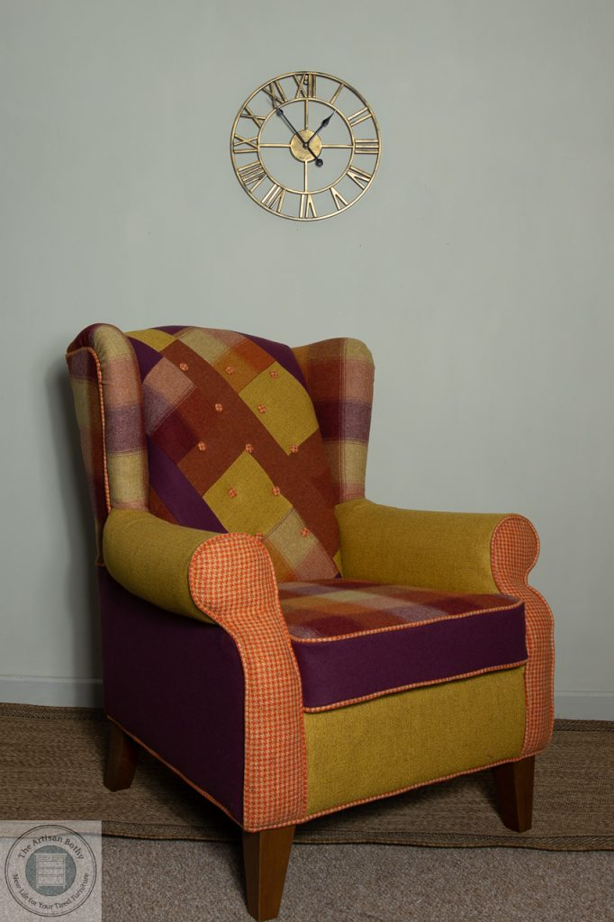 wingback chair recovered in multicolour red mustard orange patchwork