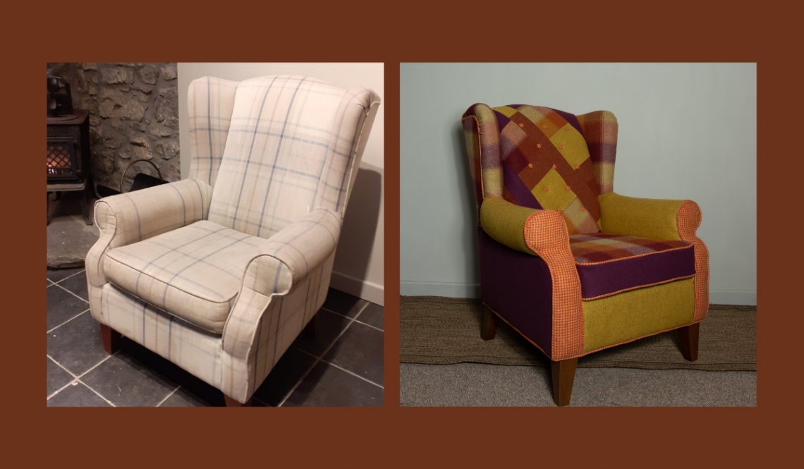 two pictures of a wingback chair one before and one afer with new covers